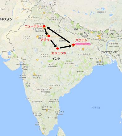 インドマップ上のバラナシ