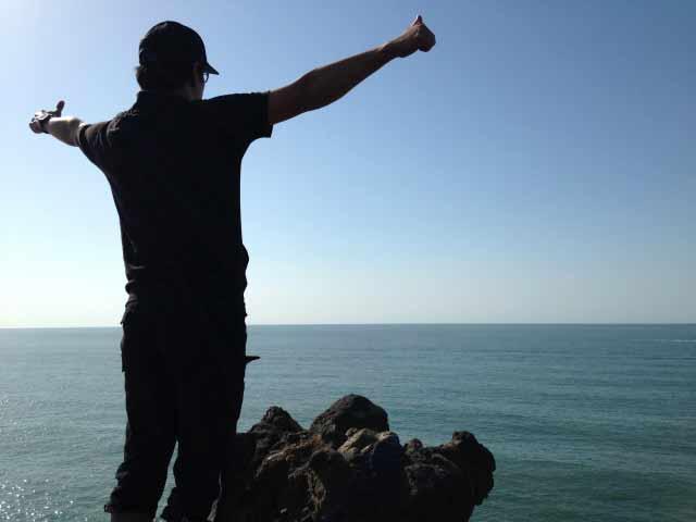 海で達成感