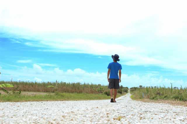 一人で草原を歩く